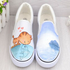 Girls Hand-painted Cute Cats & Fishes Cartoon kittens comfortable Canvas Shoes