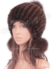 Cute 100% Real Genuine Knitted Mink Fur Hat Cap Elastic Ball 13 Colors Warm New