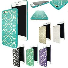 New Hard Back Damask Phone Case For Apple iPhone Samsung & FREE Screen Protector