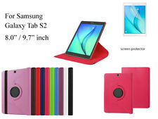 """For Samsung Galaxy Tab S2 9.7""""  8.0"""" Screen Protector/ Rotating PU Leather Case"""