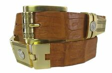 Men's Genuine Crocodile Alligator Skin Cowboy Western Dress  Belt Brown