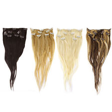 """6 Pieces 18"""" 55g Clip In 100% Real Remy Human Hair Extensions Straight Full Head"""
