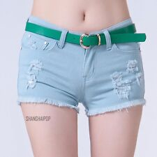 Denim Distressed Rip Hot Pant Jeans Shorts Frayed Low Rise Blue Black White Sexy