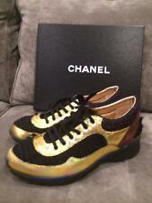 CHANEL Lace Up Tweed Metallic Leather Suede Tennis Sneakers Kicks Shoes $1350