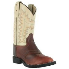 Boy's Old West Two Tone Cream/Brown Leather Western Style Round Toe Cowboy Boots