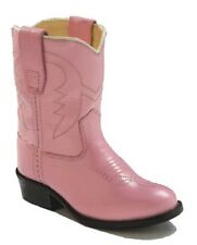 Girl's Toddler Old West Pink Leather Pageant/Halloween Costume Cowgirl Boots