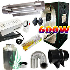 600W HPS MH Ballast MH Lamp Cool Tube Light Fan Carbon Filter 1x1x2M Grow Tent