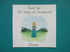 Personalised Handmade Wedding Card - Thank You for being our Bridesmaid etc