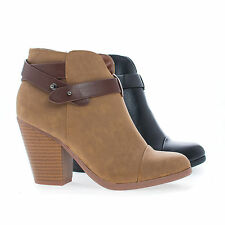Sugar Almond Toe Western Ankle Wrap Stacked Heel Boots