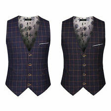 Mens Checked Dress Blazer  Vest Suit Slim Fitted Formal Waistcoat Coats Tops