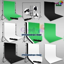 Photo Studio Black White Green Backdrop Heavy Duty 2.5x3m Background Stand Kit
