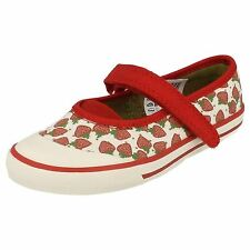 *SALE* Clarks DOODLES 'Glam Berry' Girls Red/White Casual Canvas Shoes G Fit