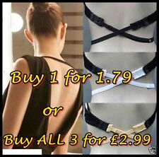 LOW BACK BRA STRAP CONVERTER FULLY ADJUSTABLE NUDE BLACK WHITE or Choose All 3