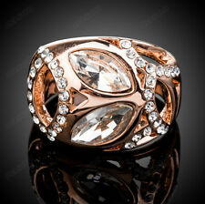 Women Wedding Clear Swarovski Crystal Ring Fashion 18K Rose Gold Plated Jewelry