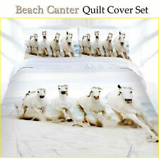 3 Pce Stunning Beach Canter Horse Pony Quilt Doona Cover Set - Queen King
