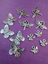 10 12 BUTTERFLY DRAGONFLY & HONEY BUMBLE 3D BEE CHARMS PENDANT TIBETAN SILVER