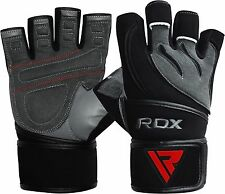 RDX Weight Lifting Body Building Gloves Gym Straps Training Leather Training