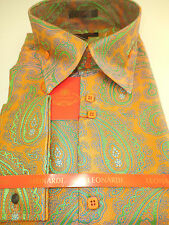 Mens Deluxe Woven Leonardi High Collar Dress Shirt Orange Paisley Style 337