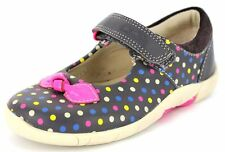Clarks 'Softly Dotty' Girls Anthracite Leather First Walking Shoes G Fit