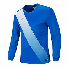 NIKE Dri Fit Soccer Jersey Sessi L/S AUTHENTIC Football Sports Golf Blue Shirt