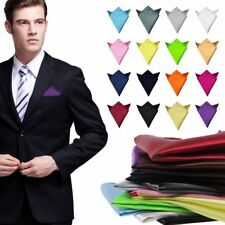 Fashion Mens Silk Satin Pocket Square Hankerchief Hanky Plain Solid Color Party