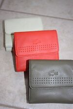 Lacoste Noyer Cheery Tomato Medium Trifold Cow Leather Double Flap Wallet