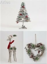 Birch Wood Twig Christmas Reindeer, Tree,  Heart Wreath Christmas Shabby Chic