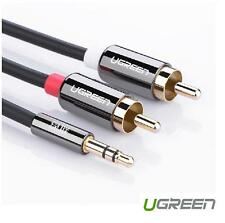 UG 3.5mm Jack Plug Male to 2 RCA Stereo Audio Cable Metal Connector 1/2/3/5Meter