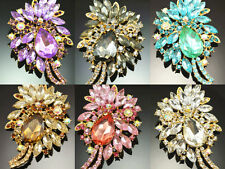 Elegant Fashion Gold Plant Big Drop Flower Brooch Crystal Rhinestone Brooch Pin
