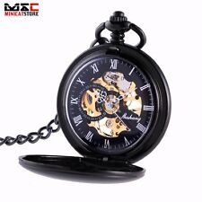 Mens Black Antique Steampunk Skeleton Windup Mechanical Pocket Watch Chain Gift