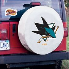 San Jose Tire Cover with Sharks Logo on White Vinyl