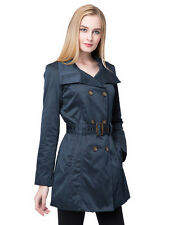 Women's Solid Color Double Breasted Belted Turn Down Collar Trench Coat