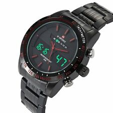 NAVIFORCE Fashion Mens LED Army Sport Wrist Watch Stainless Steel Band +Gift Box