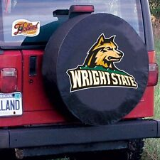 Wright State Tire Cover with Raiders Logo on Black Vinyl