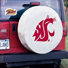 Washington State Tire Cover with Cougars Logo on White Vinyl