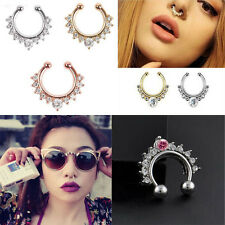 1Pc Fake Septum Clicker Crystal Nose Ring Non Piercing Hanger Clip On Jewelry h