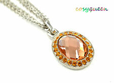 Made with Swarovski Elements Crystal New Angel Oval Dome Necklace Fashion Gift
