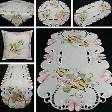 Butterfly Table runner Doily Tablecloth Cushion cover White Pink Green Flower