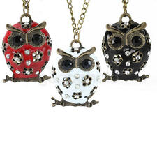 2pcs Stylish Girls Women Retro Sweater Necklace Night Owl Pendant