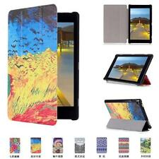 CY Color Painting Style Leather Case Slim Folding Cover Fr Amazon 2015 Fire HD 8