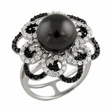 Fancy Sterling Silver ring with 10mm shell pearl, White and Black CZ OCR-12