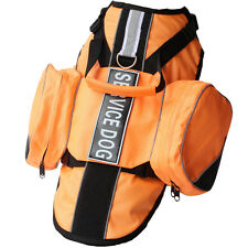 Large Dog Adjustable Control BACKPACK Dog Harness vest Saddle Bags Velcro Patch