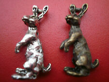 3 Silver or bronze  Moon Gazing Hare CHARMS PENDENTS WICCA WICCAN PAGAN 30 MM