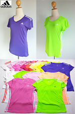 *Adidas Women ClimaLite Crew V-Neck Cap Sleeve Tee T-Shirt Gym Fitness Top S M L