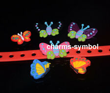 Mixed Style Butterfly PVC Shoe Charms Fit Cros Shoes, Bracelets, Wristband