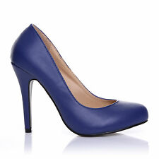 HILLARY Navy PU Leather Stilleto High Heel Classic Court Shoes