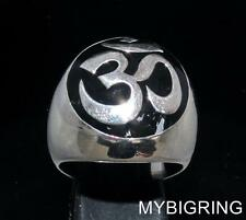 DOMED STERLING SILVER MENS BUDDHIST SIGNET RING AUM OHM OM SYMBOL BLACK ANY SIZE