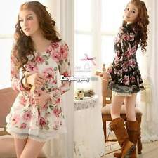 Women Long Sleeve Rose Flower Shirts Blouses Prints Lace Casual Tops ES9P New