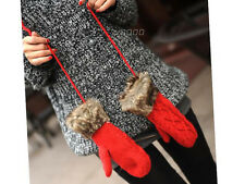 Gloves for Women - Hang Neck Winter Mittens Knitted Warm Fur Colorful Gloves