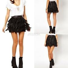 Womens Lady Faux Leather Fringe Cover High Waist A-Line Mini Skirt Dress New C79